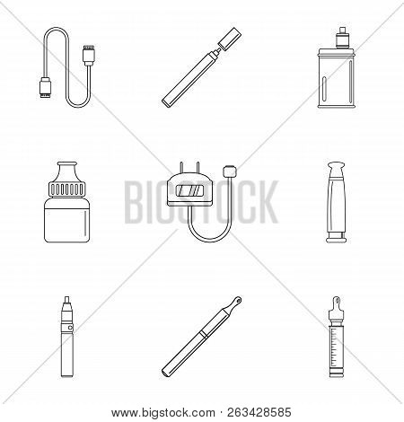 Electronic Cigar Icon Set. Outline Set Of 9 Electronic Cigar Vector Icons For Web Design Isolated On