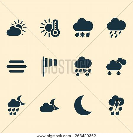Climate Icons Set With Deluge, Vane, Weather And Other Moon Elements. Isolated  Illustration Climate