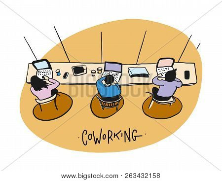 Coworking Space. Business Team Working. Flat Design Style Vector Illustration.