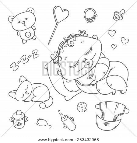 Sleeping child and kitten. Hygiene items, baby care and toys. Chubby curly asleep kid with pacifier in his mouth in clothes and cat. Vector set flat black color sketch contour illustration poster