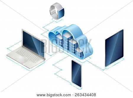 Isometric Illustration Of Data Network Management. Networking Server Or In Cloud And Portable Device