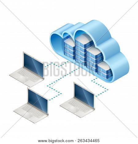 Isometric Illustration Of Data Network. Networking Server Or In Cloud And Laptops, Connected With In