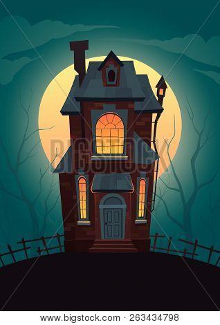 Dark House On Background Of Moon Vector Cartoon Illustration