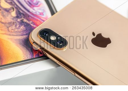 12th October, 2018-kiev, Ukraine: Latest Iphone Xs On Opened Box On White Table. Newest Apple Smartp