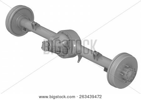 Rear Axle Car. Rear Driving Axle Car. Detail Of The Car. 3d Illustration