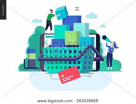 Business Series, Color 3- Cart - Modern Flat Vector Illustration Concept Of Online Shop - People Pla