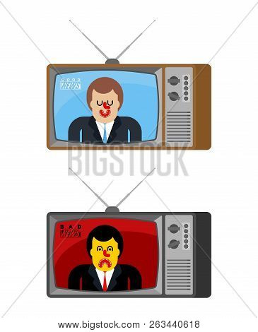 Bad And Good News Old Tv Set. Angry Broadcasting Journalist.  Happy Man Anchorman In Tv Studio. Live