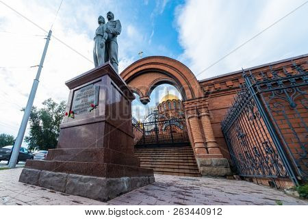 NOVOSIBIRSK, RUSSIA - 11 AUGUST 2018: Monument to Tsar Nicholas II (Nikolai II)and Tsarevich Alexey on the territory of the St. Alexander Nevsky Cathedral in Novosibirsk.