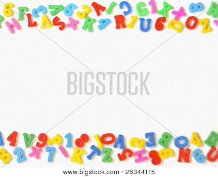 colorful plastic toy letters and numbers