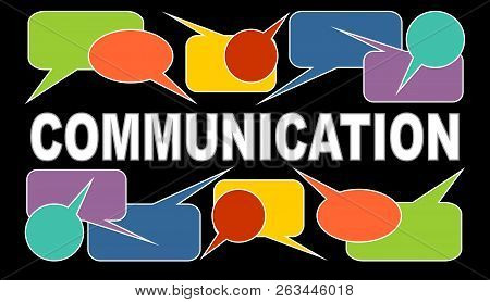 Communication Banner With White Headline And Multicolored Speech Bubbles. Callout Boxes On Black Bac