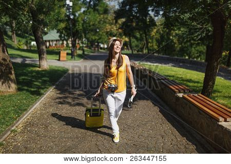 Joyful Traveler Tourist Woman In Yellow Summer Casual Clothes And Hat With Suitcase, City Map Walkin