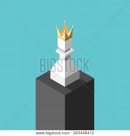 Isometric White Chess Pawn With Gold Crown On Pedestal On Turquoise Blue. Achievement, Success, Lone