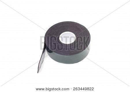 Reel Of Double-sided Tape On A White Background, Isolate, Green Double-sided Tape, Close-up, Scotch