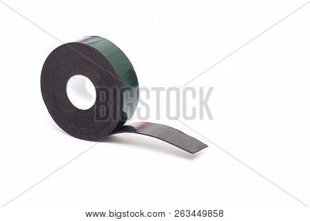 Reel Of Double-sided Tape On A White Background, Isolate, Green Double-sided Tape, Close-up
