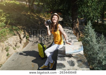 Young Pleasant Traveler Tourist Woman In Hat With Suitcase, City Map Holding Retro Vintage Photo Cam