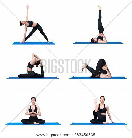 Young Asian Woman Practice Yoga Pose Exercise At The Yoga Sport Gym. Yoga Is A Healthy Form Of Exerc