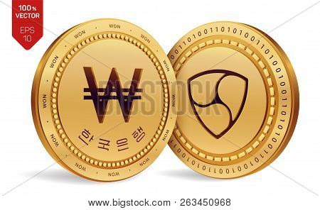 Nem. Won. 3d Isometric Physical Coins. Digital Currency. Korea Won Coin. Cryptocurrency. Golden Coin