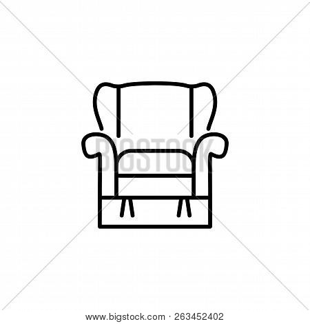 Black & White Vector Illustration Of Comfortable Recliner Armchair With High Back. Line Icon Of Arm