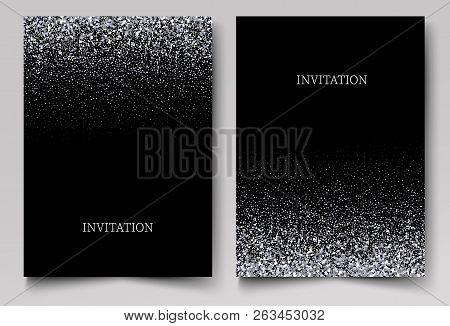 Falling Glitter Confetti. Vector Silver Dust, Explosion On Black Background. Sparkling Glitter Borde