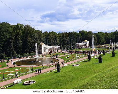 Saint Petersburg, Russia - August 7, 2018: Grand Cascade Of The Pertergof Palace