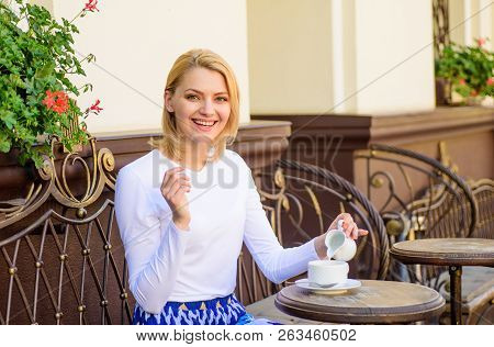 Girl Drink Coffee Every Morning At Same Place As Daily Ritual. Mug Of Good Coffee In Morning Gives M