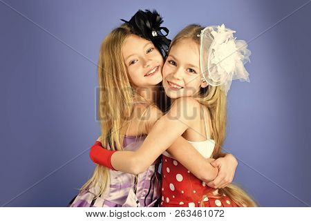 Family Fashion Model Sisters, Beauty. Children Girls In Dress, Family And Sisters. Friendship, Look,