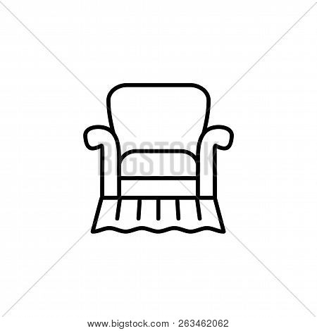 Black & White Vector Illustration Of Comfortable Vintage Armchair With High Back. Line Icon Of Retro