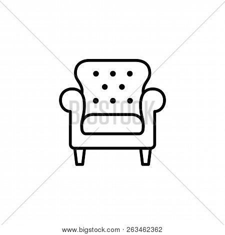 Black & White Vector Illustration Of Leather Office Armchair With High Back. Line Icon Of Arm Chair