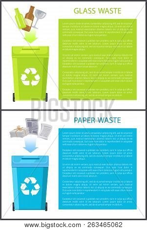 Glass And Paper Waste Banners Collection With Info About Sorting, Bins Having Recycle Sign, Bottles