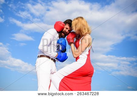 Man And Woman Fight Boxing Gloves Sky Background. Attack Is Best Defence. Women Can Fight Back Conce