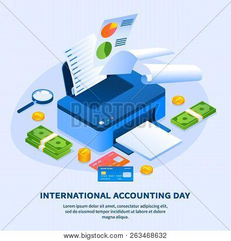 Work Printer Accounting Day Concept Background. Isometric Illustration Of Work Printer Accounting Da