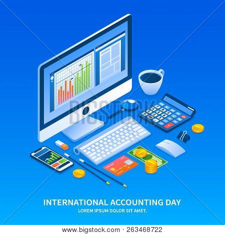 Accounting Day Holiday Concept Background. Isometric Illustration Of Accounting Day Holiday Vector C