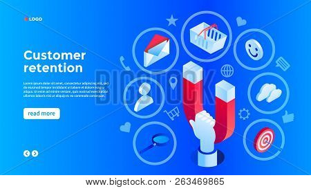 Client Attraction Concept Background. Isometric Illustration Of Client Attraction Vector Concept Bac
