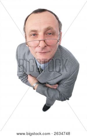 Man In Grey Suit Watching Narrowly