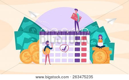 Web Page Illustration Concept. Small People With Coins, Credit Card. Time Management. Save Money.pay