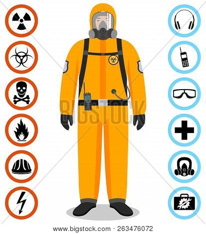 Industry Concept. Detailed Illustration Of Worker In Orange Protective Suit. Safety And Health Vecto