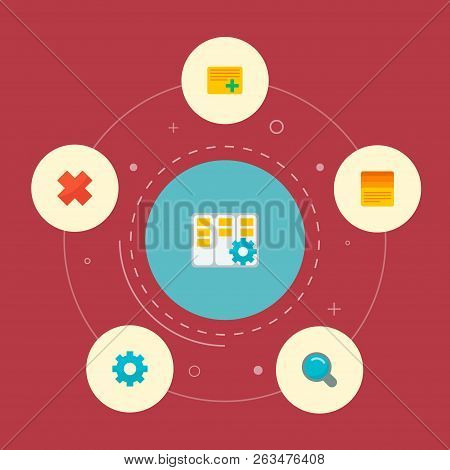 Set Of Task Manager Icons Flat Style Symbols With Setting, Cancel, Task Manager And Other Icons For