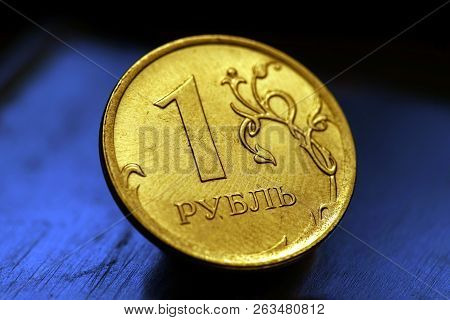 Obverse Of Coin One Russian Ruble, New Russian Coin - One Rouble, Russian Ruble On The Coin Backgrou