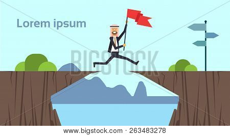 Arab Businessman Jumping With Flag Over Obstacles Over Chasm Go To The Opposite Goal Concept. Busine