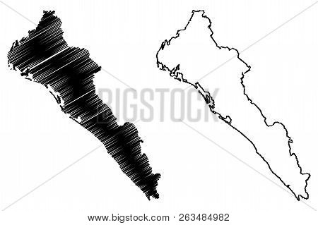 Sinaloa (united Mexican States, Mexico, Federal Republic) Map Vector Illustration, Scribble Sketch F