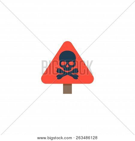Danger Sign Icon Flat Element.  Illustration Of Danger Sign Icon Flat Isolated On Clean Background F