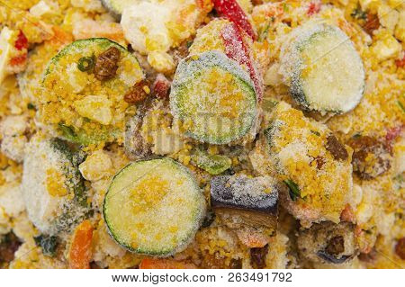 Close Up Of Frozen Food On White Background