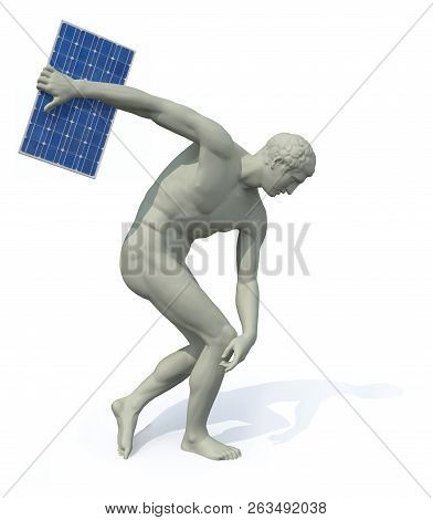Discobolus With Photovoltaic Panel Launching, 3d Illustration