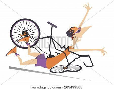 Cyclist Falling Down From The Bicycle Isolated Illustration. Cyclist Falling Down From The Broken Bi