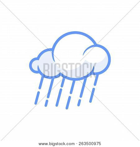 Rain Cloud Icon Vector Isolated On White Background. Rain Cloud Icon Vector Illustration, Editable S