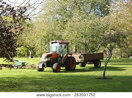 Tractor And Barrow For Working In The Garden. Garden Transport. Wheelbarrow To Work In The Garden. W