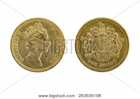 One Of The Old British One Pound Coins Through The Use Of Trading For So Long, But Still Beautiful.