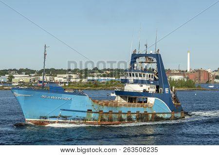 New Bedford, Massachusetts, Usa - September 30, 2018: Commercial Fishing Vessel Sea Watcher I Crossi