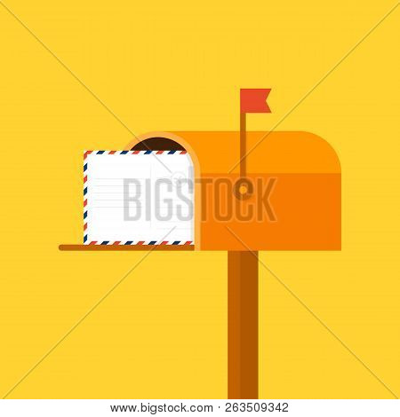 Mail Box Vector Illustration In The Flat Style. Vector Stock Illustration.
