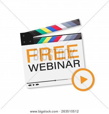 Free Webinar Icon. Flat Design Style With Orange Play Button. Vector Stock Illustration.